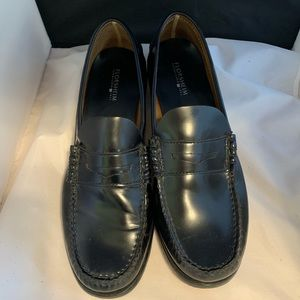 FLORSHEIM Men's Black Leather Penny Loafers